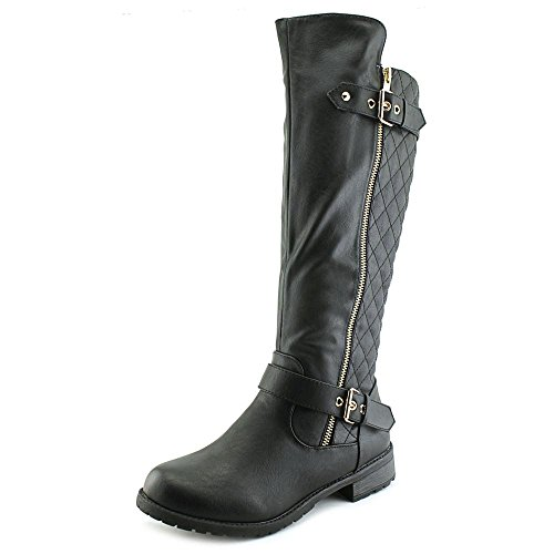 Forever Link Women's MANGO-21 Quilted Zipper Accent Riding Boots, Black, 8 ()