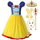 ReliBeauty Little Girls Elastic Waist Backless Princess Snow White Dress Costume with Accessories Yellow, 8/150