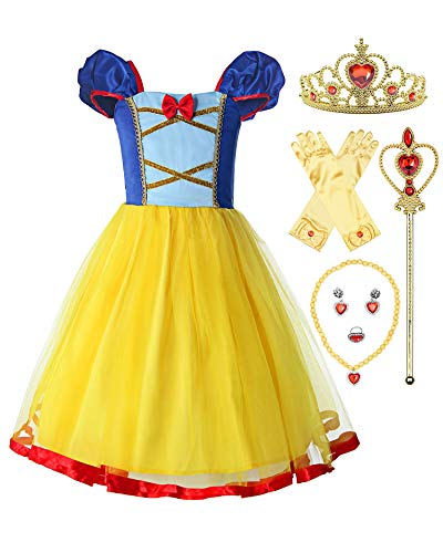 ReliBeauty Little Girls Elastic Waist Backless Princess Snow White Dress Costume with Accessories Yellow, 6-7/140