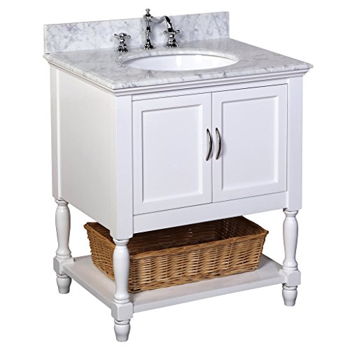 Beverly 30-inch Bathroom Vanity (Carrara/White): Includes an Italian Carrara Marble Countertop, a White Cabinet, and a Ceramic Sink (Bathroom Marble Units Vanity For)