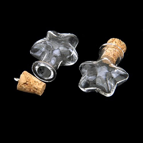 Lot de 10pcs Mini Flacon Souhaitant Bouteille en Verre Pendentif avec Bouchon de Liège Etoile-forme Transparent