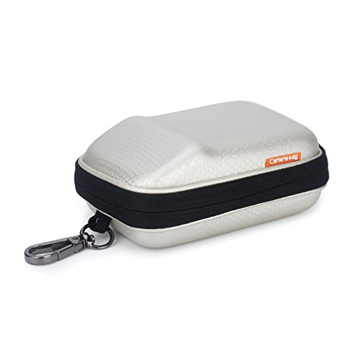 Digital Camera Case Waterproof Hook Portable Carrying Bag Shock Resistant for Sony W800 DSCW800 DSC-HX50V / Canon PowerShot SX720 SX730 / NIKON COOLPIX S9900 / Panasonic Lumix DMC-TZ90 TZ85 / White (Sony Cyber Shot Waterproof Case)