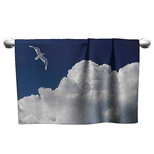 DUCKIL Beach Towel Seagulls Decor Collection Cloudy Sky and Flying Seagull Sunny Forecast Meteorology Cloudscape Image Print Personalized Bath Sheet 14 x 14 inch Navy Blue White
