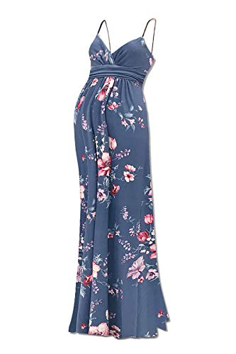 Beachcoco Women's Maternity Sweetheart Party Maxi Dress (XL, Multi 16 Dutch Blue/Pink Flower)