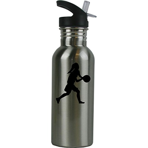 (Personalized Custom Girls Basketball Dribbling Stainless Steel Water Bottle with Straw Top 20 Ounce Sport Water Bottle)
