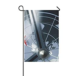 KNEVFLOW Home Decorative Outdoor Double Sided Detail of A Retro Clock with Timezones and Plane Garden Flag,House Yard Flag,Garden Yard Decorations,Seasonal Welcome Outdoor Flag 12 X 18 Inch Gift