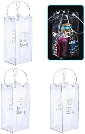 LjzlSxMF 3 Piezas Plegable Claro Vino de Hielo Bolsa de Hielo para el Vino Plegable Claro Vino de Hielo Cubo con la manija de Champagne Cerveza fría Vino Blanco