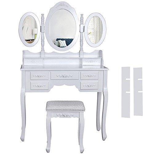 Songmics-wei-luxuris-gross-Schminktisch-mit-3-spiegel-und-hocker-7-schubladen-145-x-90-x-40-cm-RDT91W