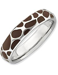 Sterling Silver Stackable Expressions Polished Enameled Giraffe Print Ring