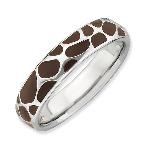 Sterling Silver Stackable Expressions Polished Enameled Giraffe Print Ring - Size 7 - Enameled Giraffe