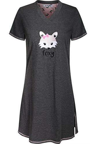 SofiePJ Women's Embroidered Short Sleeve Pure Cotton Sleepwear Nightgown Charcoal (Embroidered Sleepshirt)