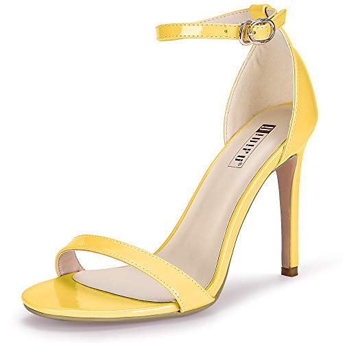 IDIFU Women's IN4 Slim-HI Open Toe Stiletto High Heel Ankle Strap Dress Sandals Party Shoes (9 M US, Yellow -