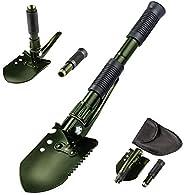 FMS Military Folding Shovel Survival Camping Snow Shovel Entrenching Tool Adjustable Angle with Shovel Bag, Bl