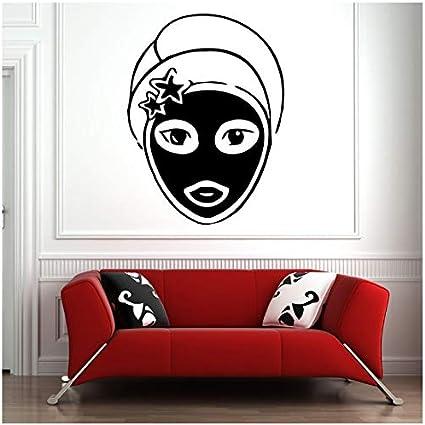 aobobaihuo Etiqueta De La Pared SPA Salon Art SPA Faciales Chica Máscara Piel Pegatinas De Pared Salón De Belleza Niñas Decoración De La Casa Patrón Extraíble 42 * 56Cm
