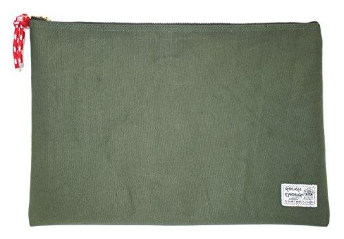 Rough Enough Heavy Canvas A4 Size Fancy Vintage Document Folder Holder (Raw Green)