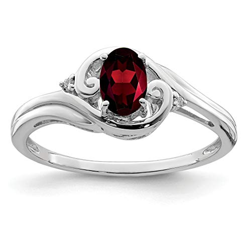 - 925 Sterling Silver Diamond Red Garnet Band Ring Size 7.00 Gemstone Fine Jewelry For Women Gift Set