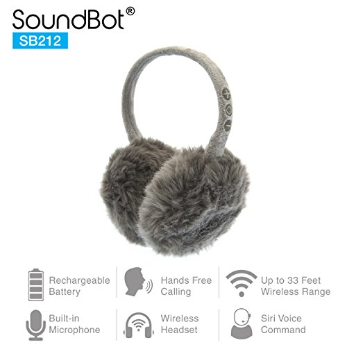 SoundBot SB212 HD Stereo Bluetooth 4.1 Wireless Musical Earmuffs Headphone,Up to 5 Hrs of Play Time, Up to 8 Hrs of Talk Time,60 Hrs Standby Time, Build-in Mic (GRY)