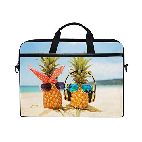 (KUWT Laptop Case Tropical Beach Pineapple Music Laptop Shoulder Messenger Bag Case Sleeve Crossbody Briefcase with Strap Handle for Notebook)