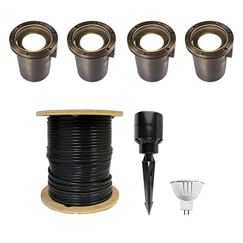 VOLT Lighting In-Ground Well Lights, Brass (4-Pack) with LED Bulbs, Cable, Stakes and Hub