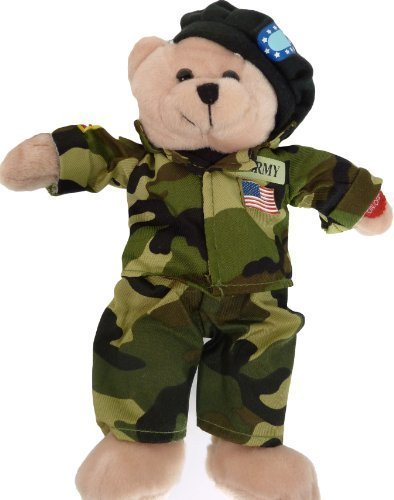 Plush Bear Chantilly Lane 11 Inch Singing Military Hero Army The Army Goes Rolling Along