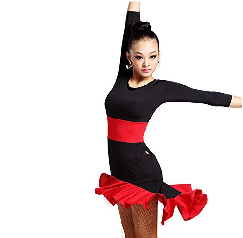 CHAGME Women Latin Dance Skirt New Style Square Dance Practice Dress Adult Long Sleeve Performance Costume Black S (Dress Square The Dance)