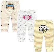 Kiddiezoom Unisex Baby 3 Pack Newborn Pants Baby Boys Girls Cotton Long Pants