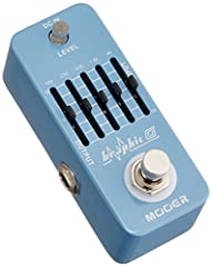 Smallest guitar graphic equalizer pedal in the world. 5-Band Graphic EQ with master level control. +/- 18 dB Adjustable gain range per band. Full metal shell. Very small and exquisite. True bypass. Requires DC 9V adapter power supply.