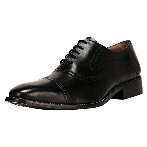 Liberty Men's Handmade Leather Classic Oxford Lace Up Perforated Cap-Toe Dress Shoes Black