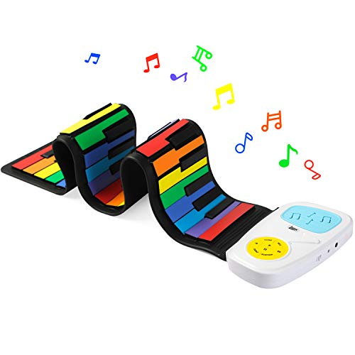 Lujex Rainbow Roll Up Piano,Portable Foldable Standard 49 Keys Flexible Soft Silicone Electronic Music Roll Up Piano Keyboard with Louder Speaker for Children Beginner