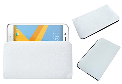 Acm Rich Soft Carry Case Compatible with HTC 10 Evo Mobile Handpouch Leather Cover Pouch White
