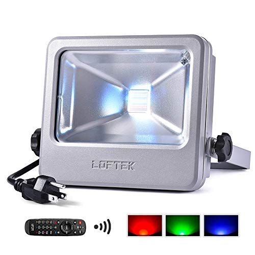 30W RGB Floodlight, LOFTEK Outdoor Color Changing Flood Light with Dimming and Memory Setting Function, Waterproof IP 66 Spotlight for Lawn and Garden,Black