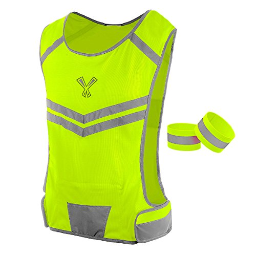247 Viz The Reflective Vest with Inside Pocket & 2 High Visibility Running Safety Bands - Neon Yellow, Large/Extra Large XL