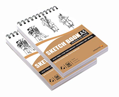 Askprints 50 Sheet A5 Sketchbook Set of 2-5.8 x 8.3 Inch   Top Spiral-Bound Sketchpad for Artists   Sketching and…