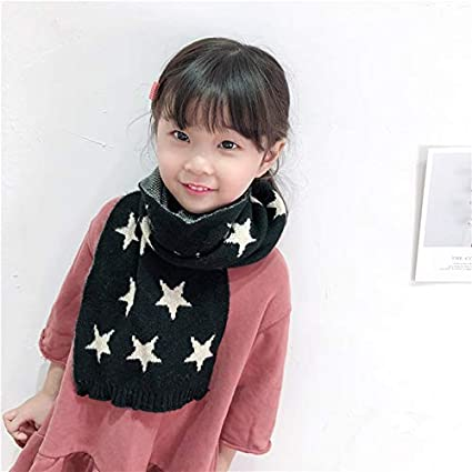 TREESTAR Knitted Scarf for Unisex Children Kids Woollen Scarf Stars Decoration for Autumn Winter Warm Outdoor Skiing Bicycling