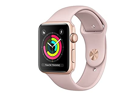 ArtMuseKitsMikash Apple Watch Series 3 42mm Smartwatch (GPS Only, Gold Aluminum Case, Pink Sand Sport Band)
