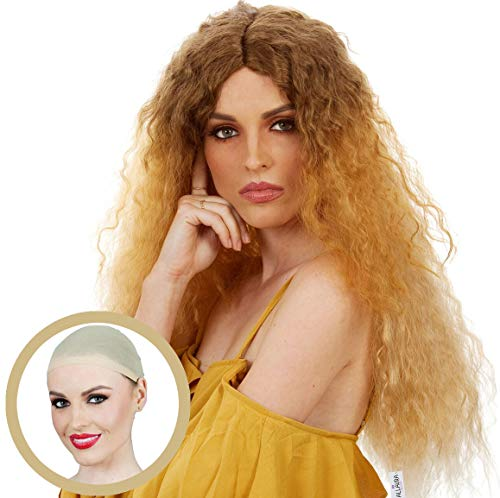 ALLAURA 70s 80s Long Brown Blonde Ombre Curly Perm Wig for Women Cosplay Costume -