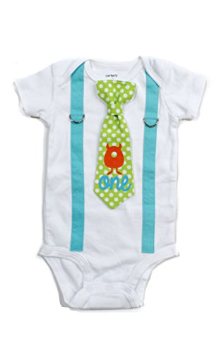 Cuddle Sleep Dream Baby Boy 1st Birthday Outfit Cake Smash Bodysuit with Tie and Suspenders Birthday Shirt (12 month, Monster)