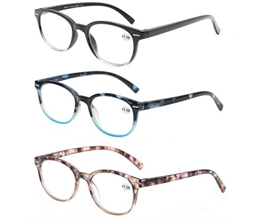 Reading Glasses 4.0 Women 3 Pack Spring Hinge Fashion Round Stylish for Reading with Pouch