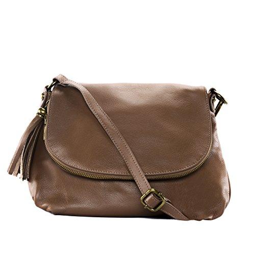 CUIR DESTOCK sac à main porté épaule et bandoulière cuir souple (pleine peau) modèle bacall (pt modèle) - nouvelle collection 2018 Taupe Fonce