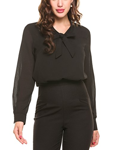 ACEVOG Work Blouses Womens Bow Tie Neck Long Sleeve Chiffon Blouse for Formal Wear,Black,X-Large