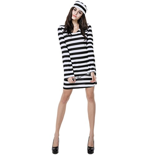 Women's Striped Convict Prisoner Costume Sexy Halloween Deluxe Zombie Dress (Medium)]()