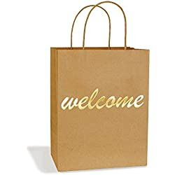 "BagDream Gift Bags 8x4.75x10.5"" Medium Paper Bags 25Pcs Embossed Gold Foil Welcome Brown Kraft Paper Bags with Handle for Hotel Guests Wedding Favors Bridesmaid Graduation Birthday Party Bridal Baby"