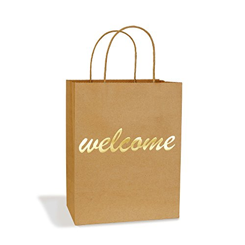 """BagDream Gift Bags 8x4.75x10.5"""" Medium Paper Bags 25Pcs Embossed Gold Foil Welcome Brown Kraft Paper Bags with Handle for Hotel Guests Wedding Favors Bridesmaid Graduation Birthday Party Bridal Baby"""