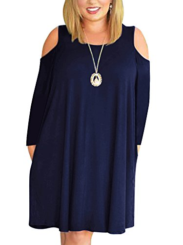 Nemidor Women's Cold Shoulder Long Sleeve Plus Size Casual T-Shirt Swing Dress with Pockets (26W, Navy+Sleeve)