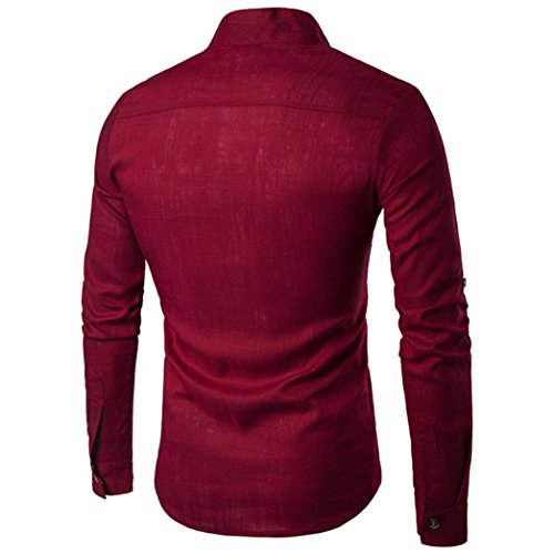 2018 Shirt Hawaiian Elegante Pulsante Red di lunga Crazy Chiusura Aimee7 Manica Man Vintage lino Casual Tops Casual New Camicie Chic Business Sales xtYqwxAU
