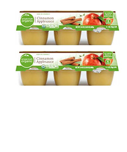 Simple Truth Organic Cinnamon Applesauce Unsweetened 4 Ounce Cups Ideal for Snacks, Lunch & Games 6 Cups Per Package 2 Pack