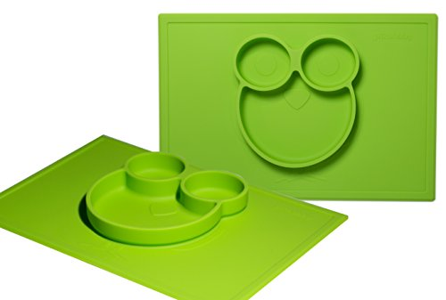 Silicone Placemats for Babies, Toddlers and Kids | Non Slip Silicone Feeding Food Tray / Placemat and Plate | Waterproof | BPA Free | Fits with common Tables & Highchair | Best Baby Shower Gift Green