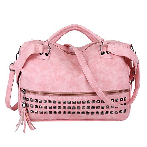 CCFAMILY Woman's Bag Fashion Retro Tassel Frosted Big Bag Handbag Messenger Shoulder Bag ()