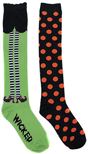 K. Bell Women's Wicked Witch Halloween Knee High Socks (2 Pair) (Wicked Witch Socks)