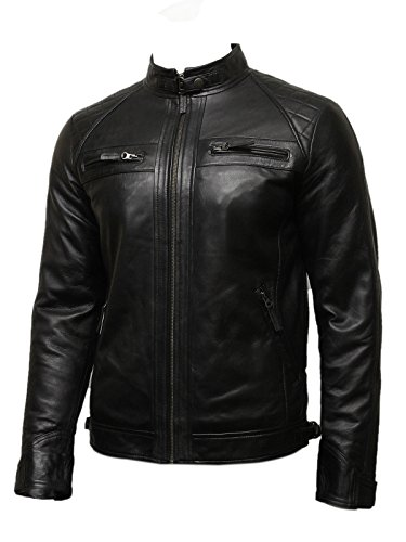 INFINITY Mens Leather Biker Jacket Black BNWT 100% Real Leather S-5XL (L, Black)
